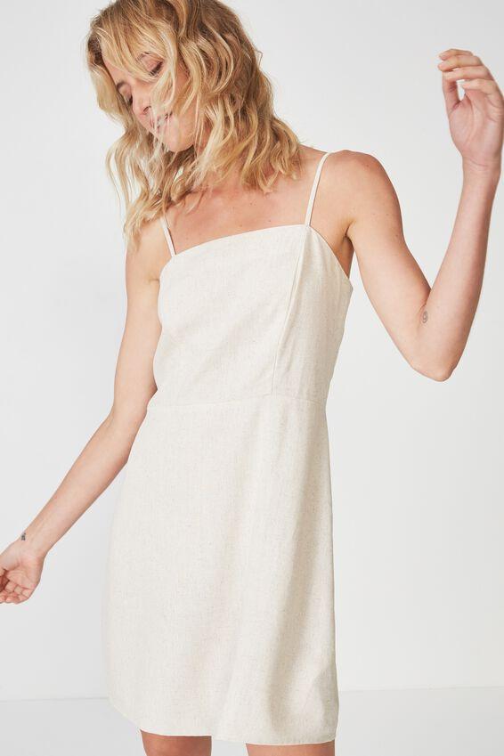 Woven Krissy Dress, LATTE MARLE - L