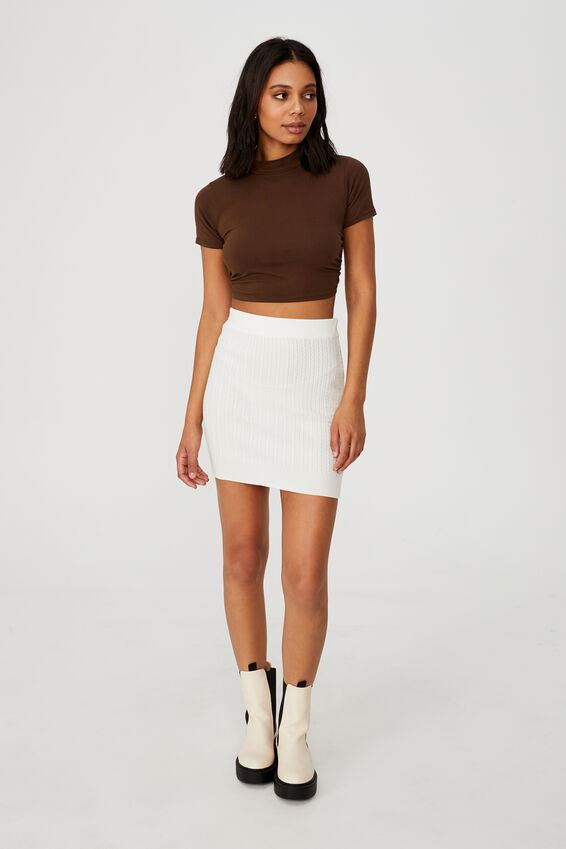Ultimate Knit Cable Mini Skirt, CHALK WHITE