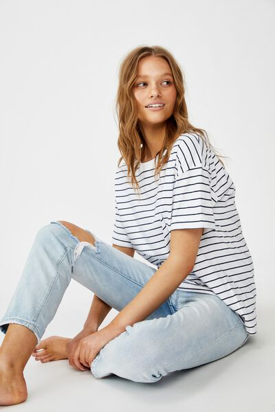 The Relaxed Boyfriend Tee, CARL STRIPE WHITE/MOONLIGHT
