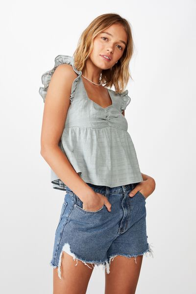 Babydoll Frill Sleeve Top, ABYSS