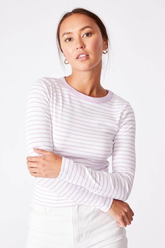 The Turn Back Long Sleeve Top, MIKI STRIPE WHITE/FROSTY LILAC