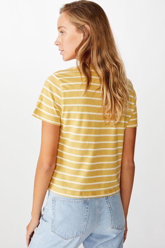 Essential Art T Shirt, PALM COCOON MARLE/GARDENIA STRIPE