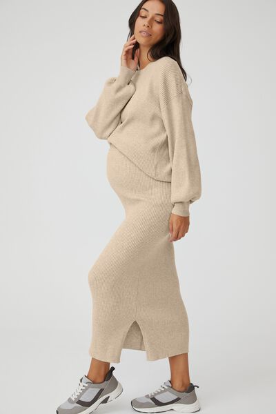 Maternity Friendly Ultimate Midi Skirt, TAUPE MARLE