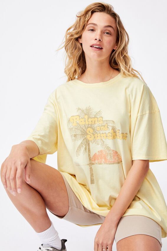 Oversized Graphic T Shirt Dress, PALMS AND SUNSHINE/LEMON