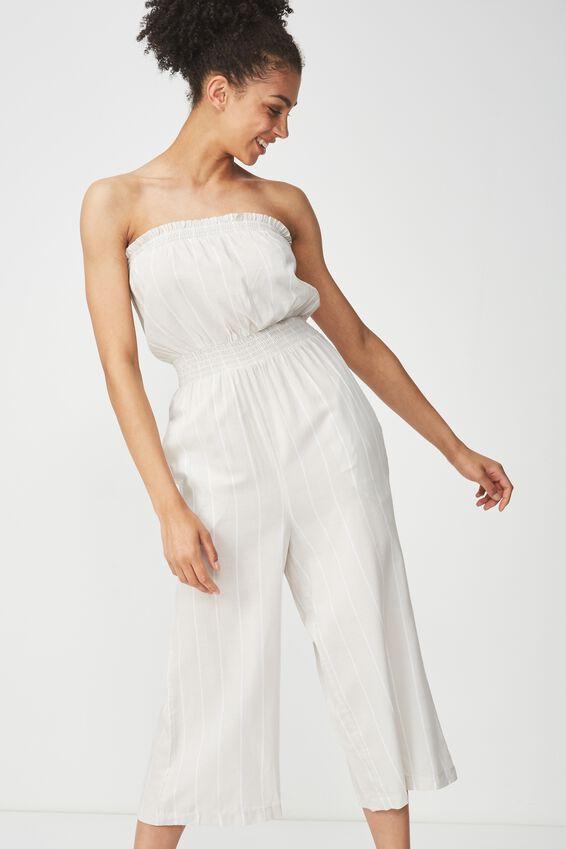 Woven Callie Bandeau Jumpsuit, BRENDA VERTICAL STRIPE/WHITE PARCHMENT