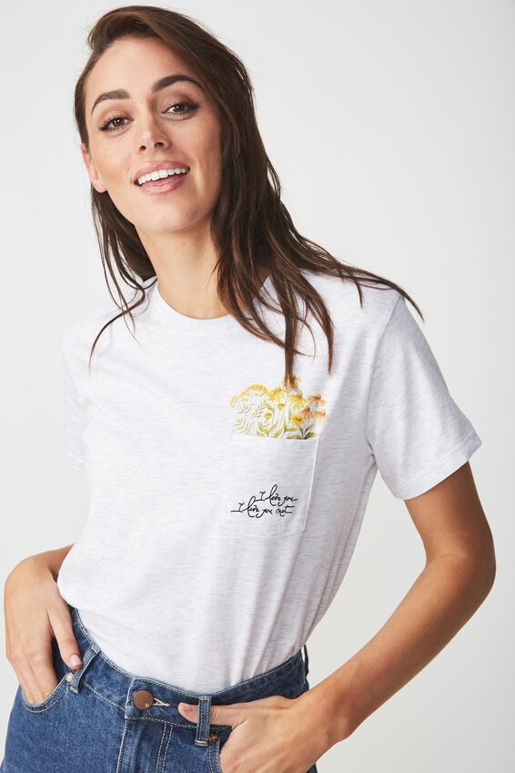 Tbar Fox Graphic T Shirt, FLOWER POCKET/SILVER MARLE