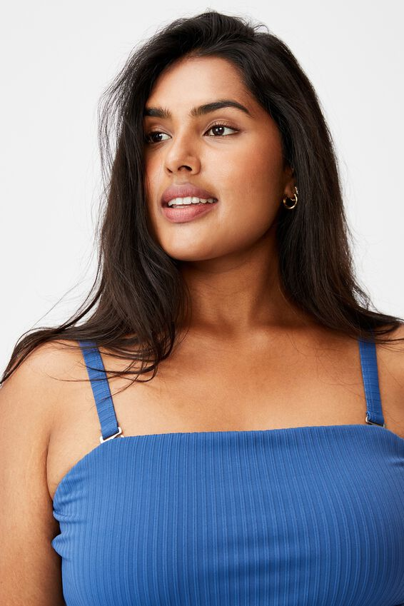 Curve Swim Strapless One Piece, MARINE BLUE TEXTURE