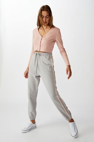 High Waisted Trackpant, ALLOY/ROSE SMOKE SIDE STRIPE
