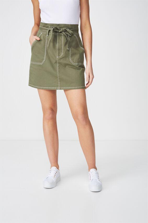 Woven Utility Twill Mini Skirt, KHAKI
