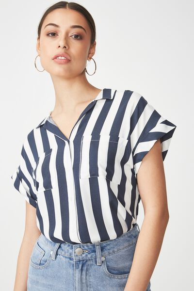 Emily Short Sleeve Shirt, ANNA STRIPE TOTAL ECLIPSE