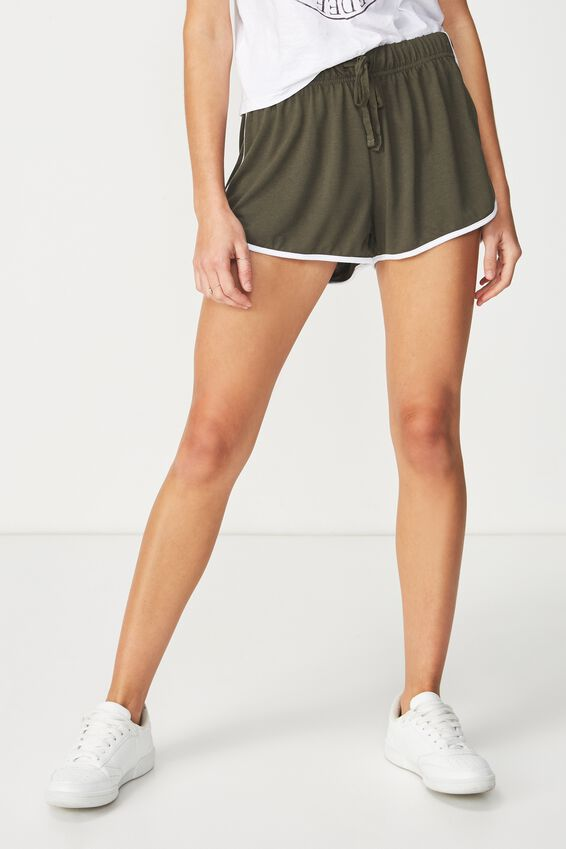 Retro Contrast Bind Short, ARMY GREEN