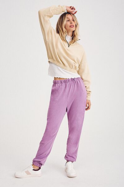 High Waisted Trackpant, FROSTY LILAC GARMENT PIGMENT DYE