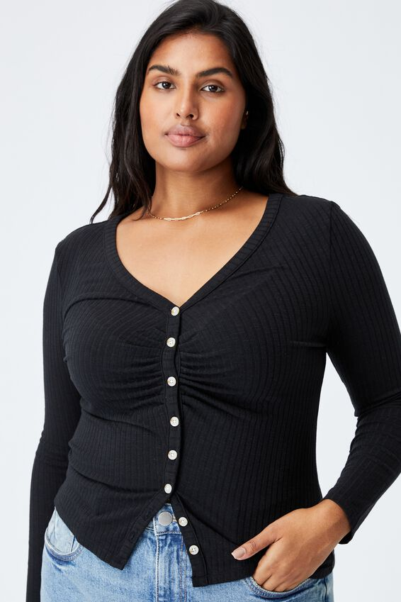 Curve Renee Long Sleeve Cardi, BLACK