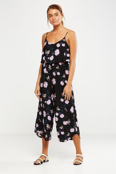 Woven Maddie Strappy Jumpsuit, ALICIA FLORAL BLACK