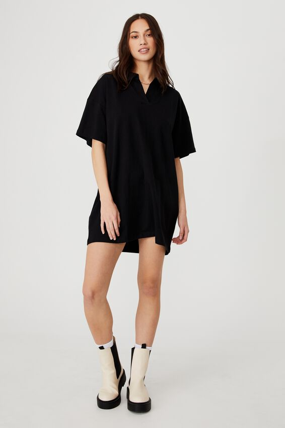 The Billy Rugby Tshirt Dress, BLACK