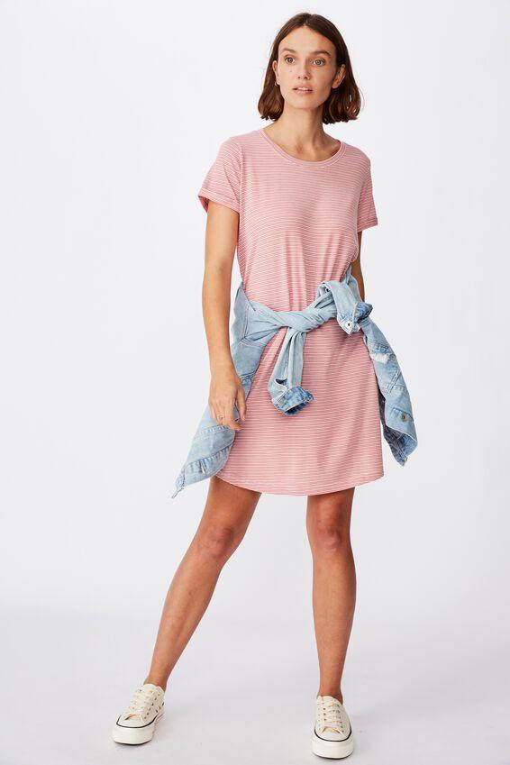 Tina Tshirt Dress 2, MINI MOLLY STRIPE FADED ROSE/WHITE