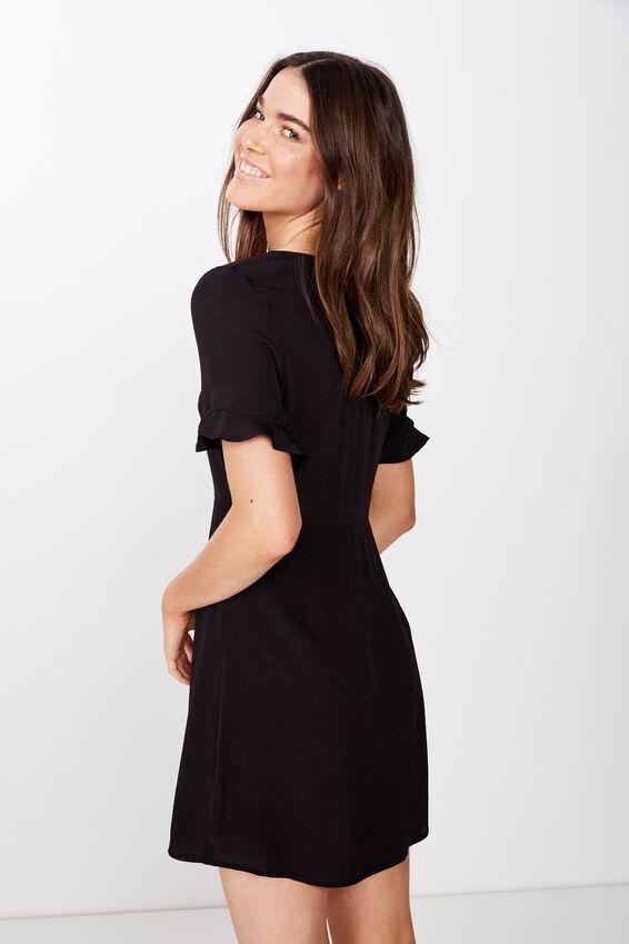 Woven Stacey Short Sleeve Tea Dress, BLACK