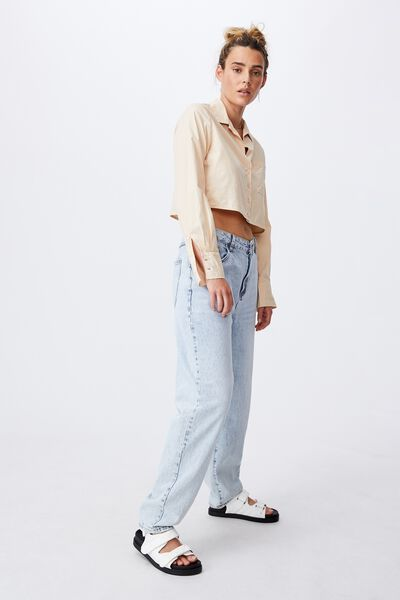 Cropped Long Sleeve Shirt, BARLEY