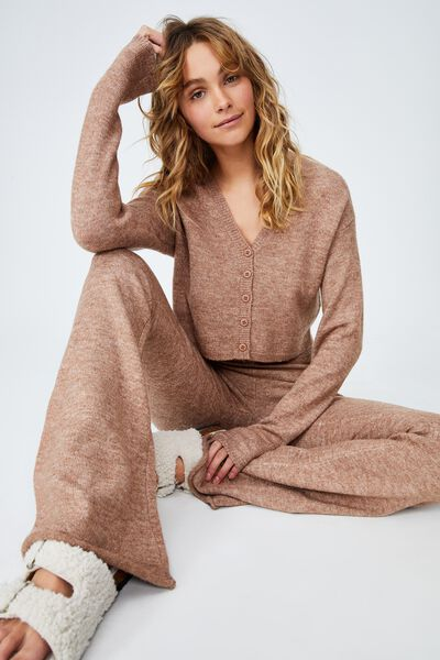 Recycled Crop Match Back Cardigan, COCOA BEAN MARLE