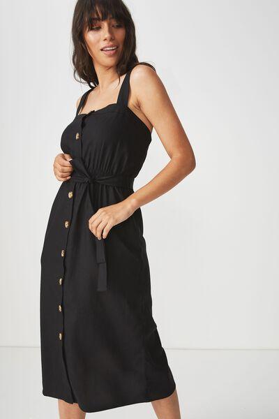 Woven Lyric Button Through Midi Dress, BLACK