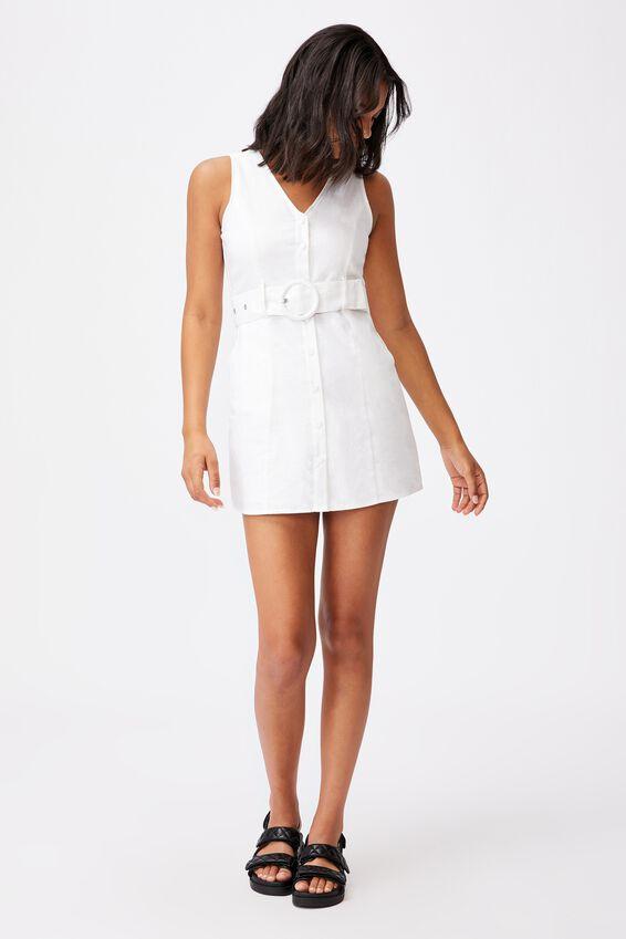 Woven Valerie Vest Mini Dress, WHITE