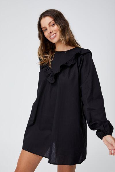 Woven Juliet Long Sleeve Mini Dress, BLACK