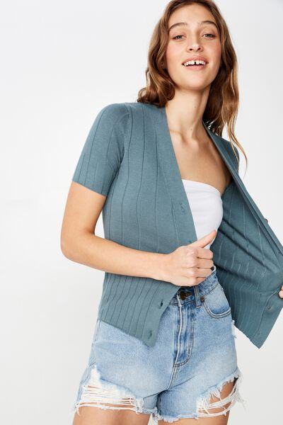Quinnie Half Sleeve Button Through Cardi, NORTH ATLANTIC