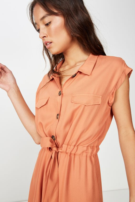 Woven Eve Sleeveless Shirt Dress, SUNBURN