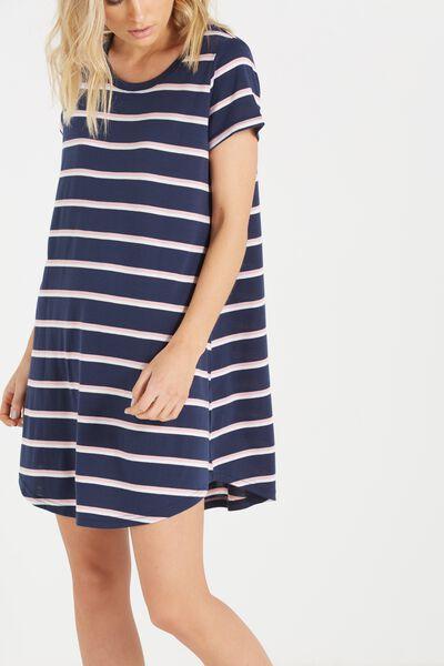 Tina Tshirt Dress 2, SPACE NAVY/WHITE/PEACH VERIGATED JOY STRIPE