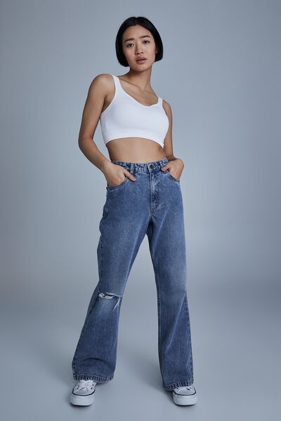 Petite Relaxed Flare Jean, WATEGOS BLUE RIP