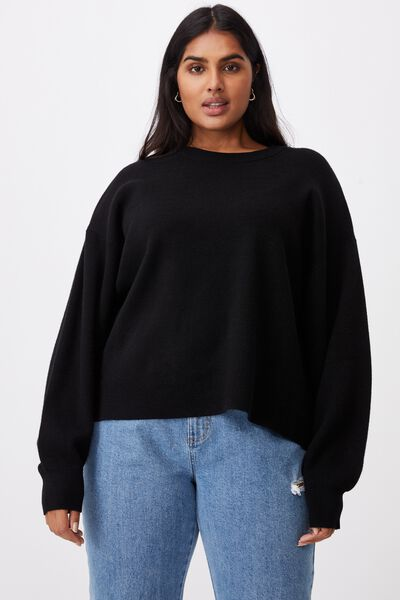 Curve Chloe Oversized Pullover, BLACK