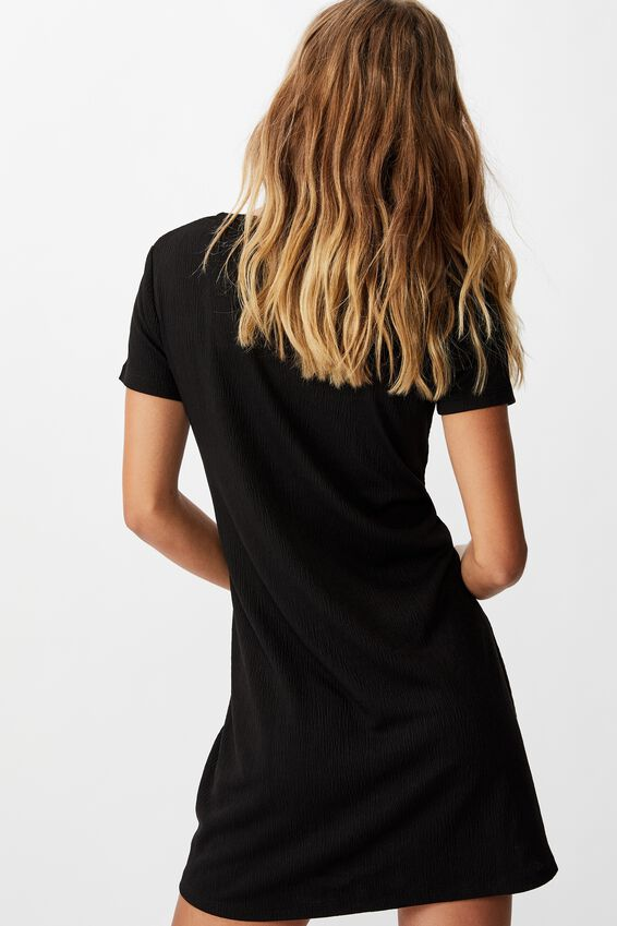 Yasmine Gathered Short Sleeve Mini Dress, BLACK