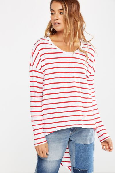 Bessie Open Back Long Sleeve Top, JACK STRIPE WHITE/CHERRY RED