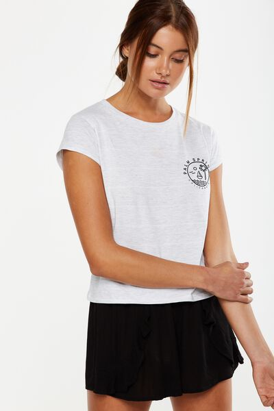 Tbar Friends Graphic Tee, PALM SPRINGS WHITE STRIPE/SILVER MARLE
