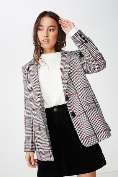 Relaxed Blazer, ALICE HOUNDSTOOTH BLACK