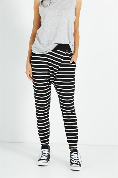 Relaxed Wrap Jersey Pant, MARIA STRIPE BLACK / WHITE