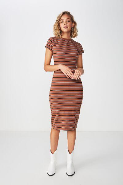 Demi Midi Bodycon Dress, EVA STRIPE RAWHIDE HORIZONTAL