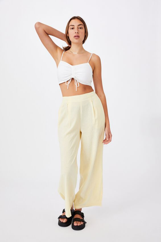 Coco Drawstring Rouched Cami Top, WHITE