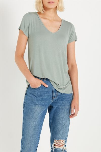 Keira Short Sleeve V-Neck T Shirt, EUCALYPTUS
