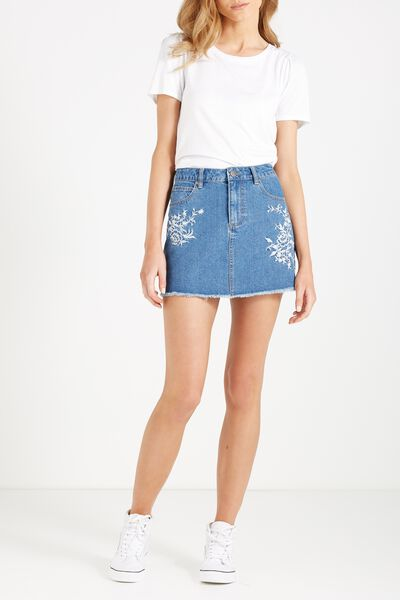 A Line Mini Denim Embroidered Skirt, RETRO BLUE