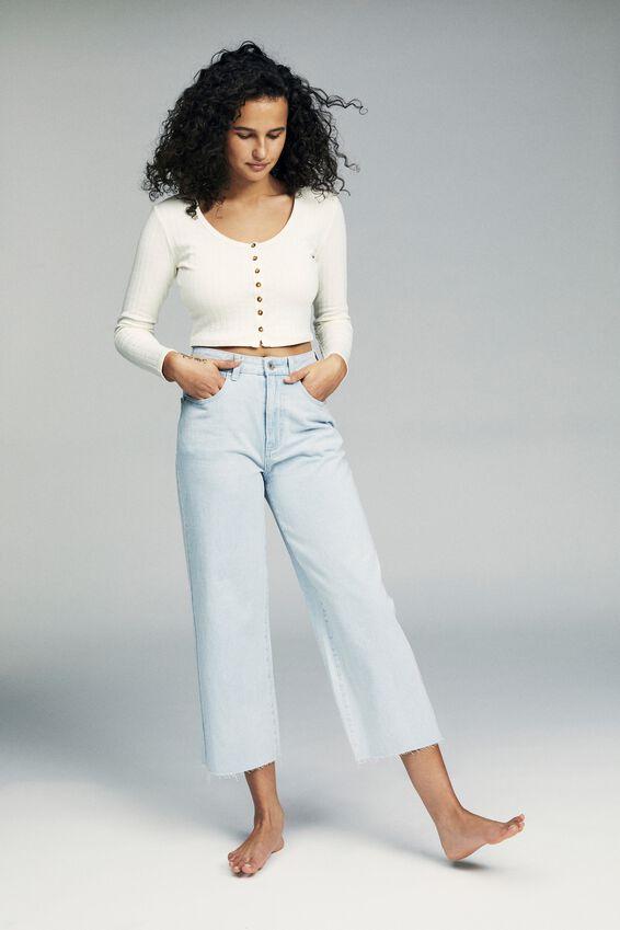 Wide Leg Cropped Jean, BONDI BLUE