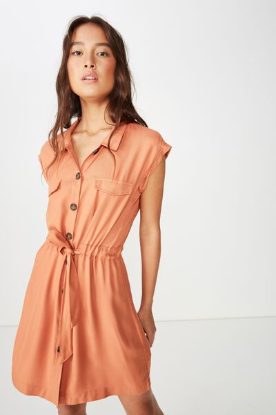 Woven Eve Sleeveless Shirt Dress, SUNBURN