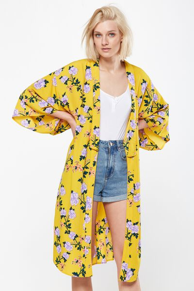 Lana Longline Kimono, ALICIA FLORAL LARGE LEMON