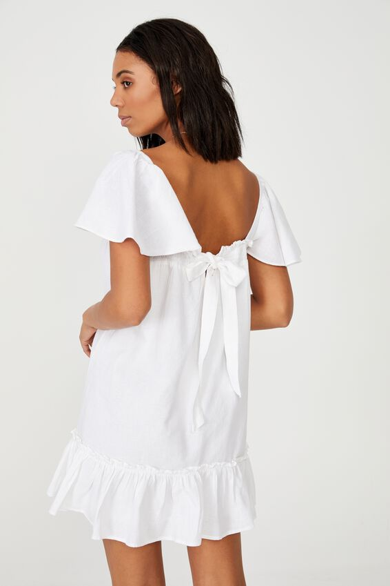 Woven Florence Flutter Sleeve Tie Back Tunic, WHITE