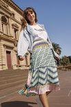 Woven Daria Pleated Midi Skirt, LILANA GEOMETRIC GREEN AND PINK