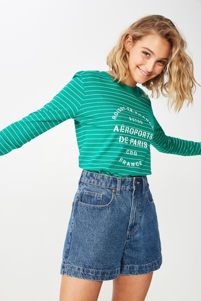 Classic Slogan Long Sleeve T Shirt, AEROPORTS LUSH MEADOW/WHITE STRIPE