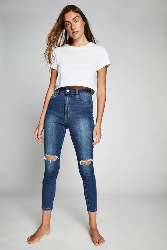 High Rise Cropped Skinny Jean, BERKLEY BLUE RIPS