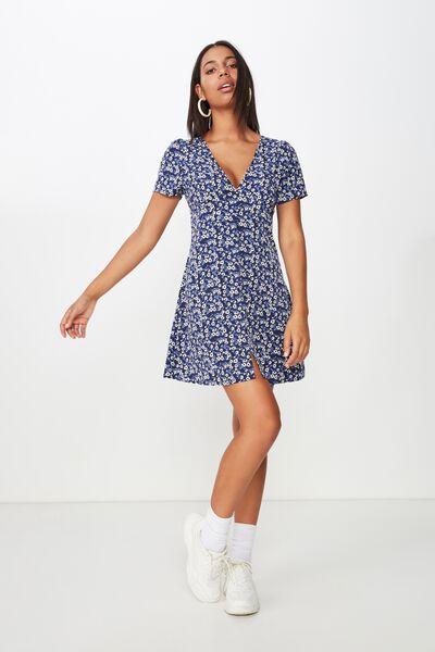 Woven Dotti Deep V Puff Sleeve Mini Dress, ERIN DITSY FLORAL NAVY/BUTTONS