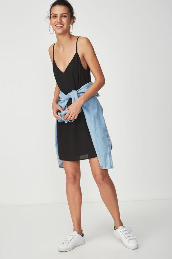 Woven Margot Slip Dress, BLACK
