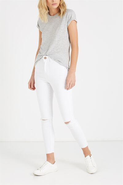 High Rise Cropped Skinny Jean, WHITE KNEE SLASH